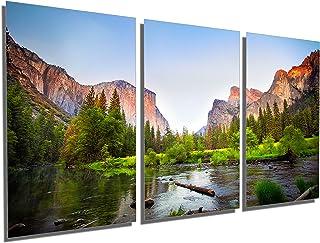 72 x 36 Total - Gates to The Valley, Yosemite, CA Metal Print Wall Art. 3 Panel Split, Triptych. HD Aluminum Panels