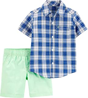 Baby Boys Checked Shirt /& Cargo Shorts Outfit Set 6 to 24 Months