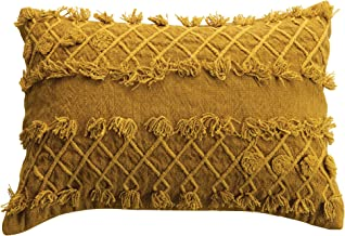 Bloomingville Gold Cotton Embroidered Lumbar Embroidery and Fringe Pillow