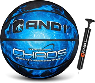 AND1 Chaos Rubber Basketball & Pump: Game Ready, Official Regulation Size, Made for Indoor and Outdoor Basketball Games