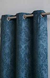 Blackout Weave Embossed Curtain Panels   Block Light And Noise   Best Sleep Of Your Life  Thermal Weaved Room Darkening Fabric Durable Grommets Premium Curtains And Draperies (1 panel 54x96, Teal)