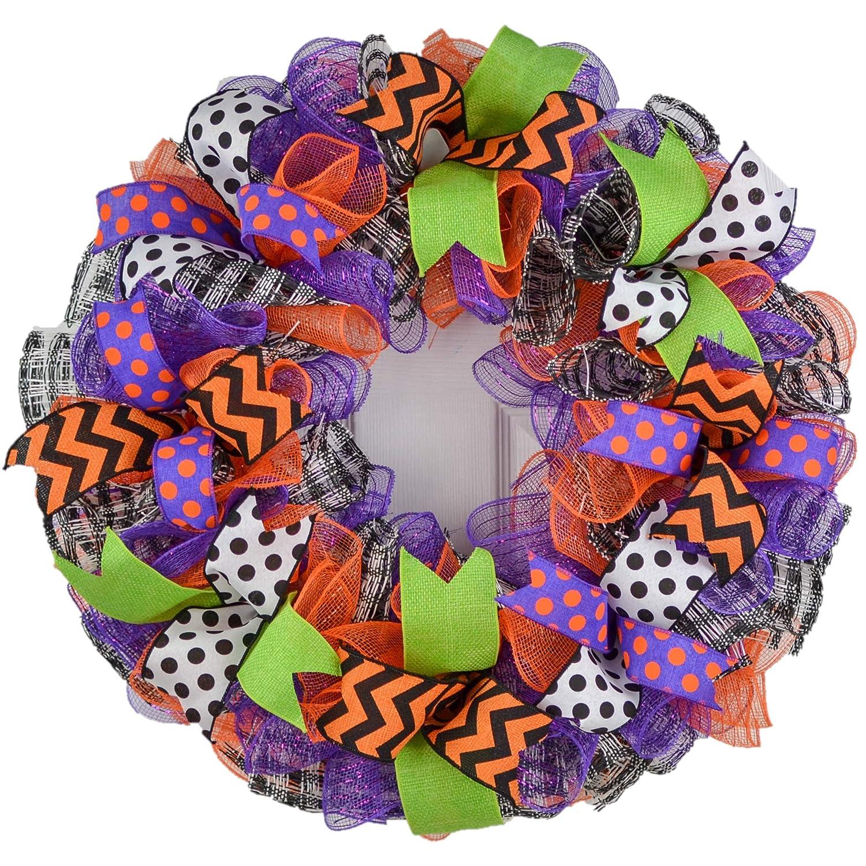 Amazon.com: Halloween Wreaths   Deco Mesh Outdoor Front Door Wreath; Black  White Purple Orange Lime Green : H2 : Handmade Products