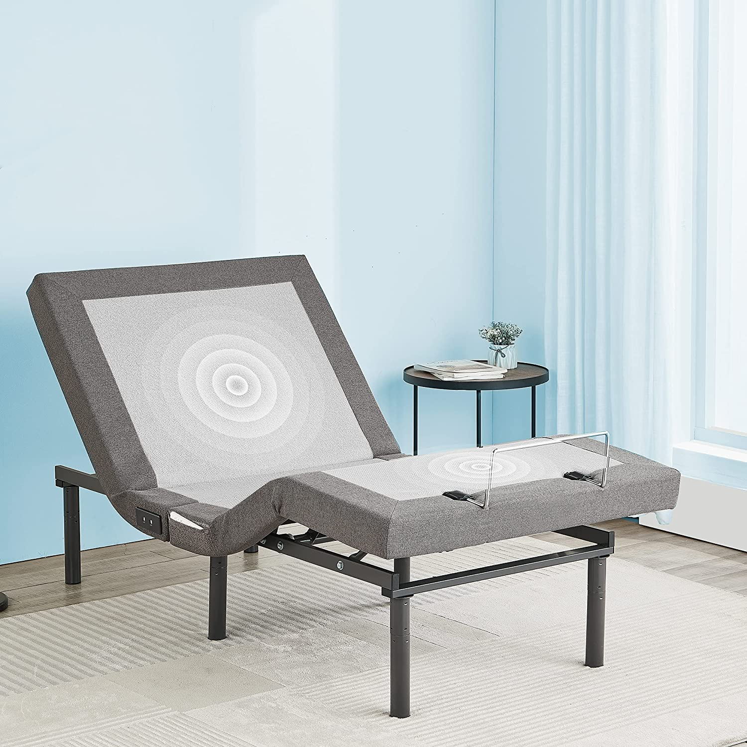 YIMODO Queen Size Electric Adjustable Bed Base Frame with Head a