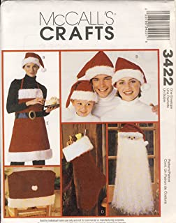 McCall's 3422 Sewing Pattern, Santa Door or Wallhanging, Hat, Chair Cover, Stocking and Apron, One Size