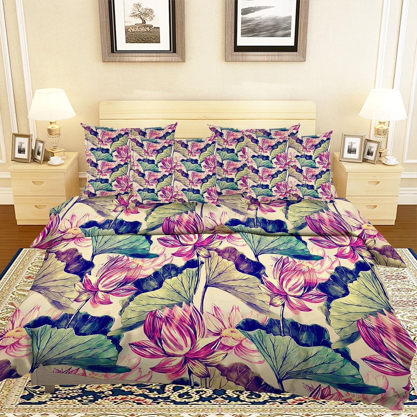 インターネットシンプルなそれにもかかわらず3D パープルロータスフラワーペインティング 89 寝具枕カバーキルト羽毛布団カバーセットシングルクイーンキング| 3D写真の寝具 Summer (シングル)