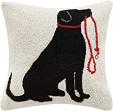 Peking Handicraft Lab and Leash Hook Pillow, Black/Red