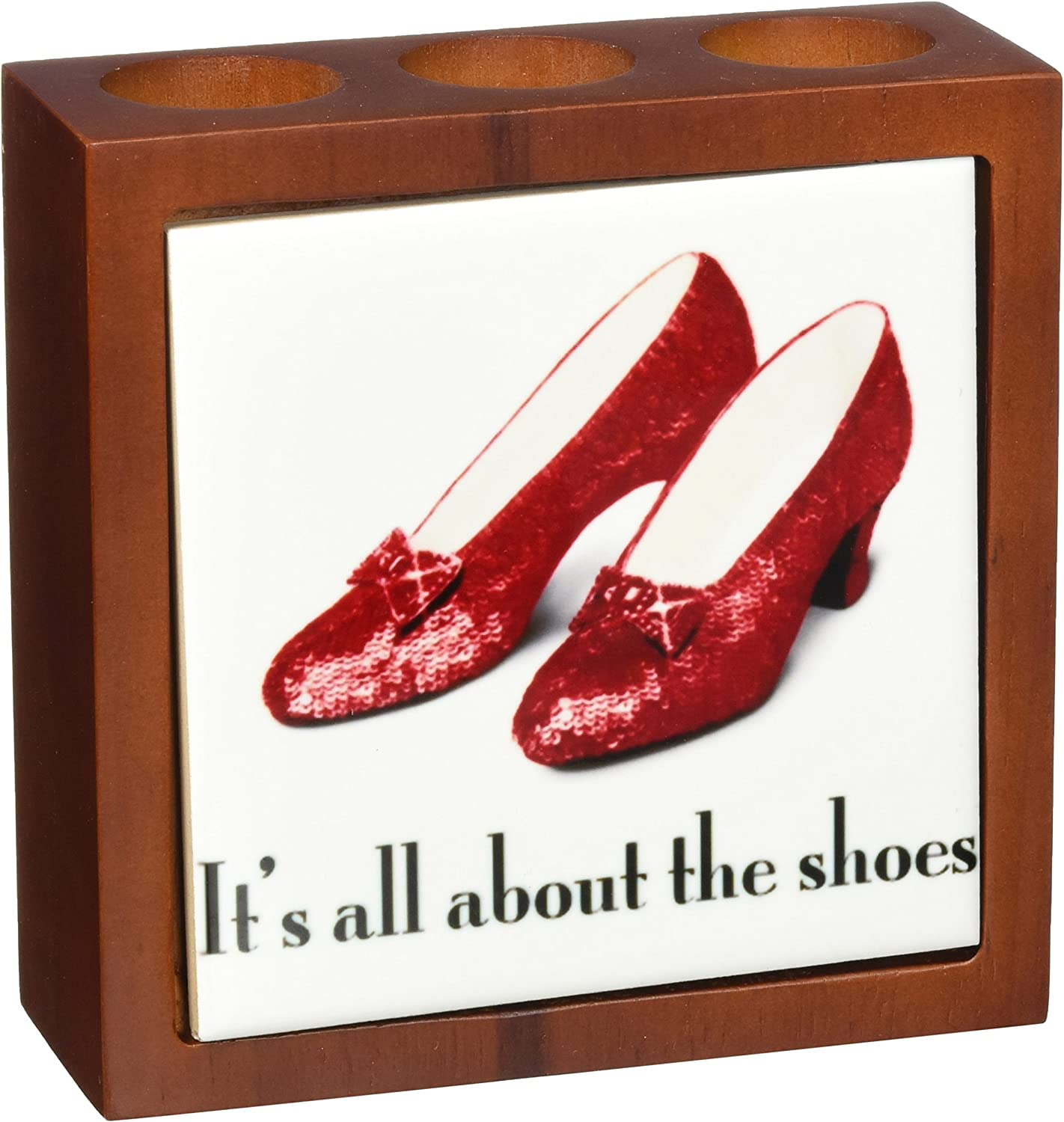 3dpink ph_108339_1 Its All About The shoes, Ruby Slippers Wizard of Oz-Tile Pen Holder, 5-Inch