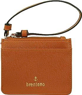 B BRENTANO Vegan Saffiano Leather Slim ID Credit Card Case with Wristlet Strap (Tan)