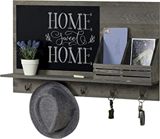 MyGift Rustic Grey Wood Wall-Mounted Mail Sorter Rack with 5 Key Hooks and Black Chalkboard