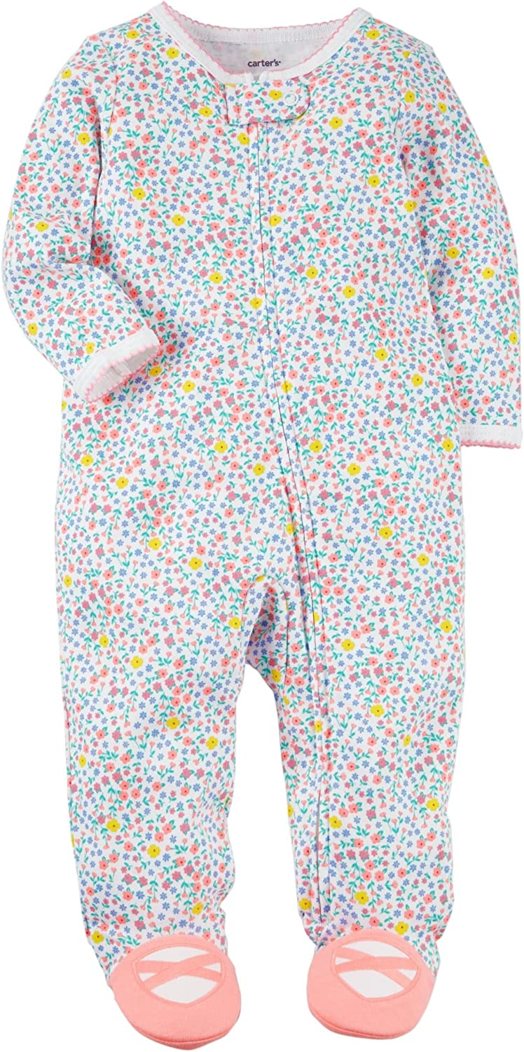 Carter's Baby Girls' Zip up Floral Cotton Sleep and Play