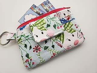 Zipper Mini Wallet Pouch Key Chain Fabric Card Holder Easter Bunnies Bunny
