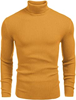 Mens Ribbed Slim Fit Knitted Pullover Turtleneck Sweater