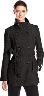 Women's Double Breasted Wool Coat with Belt, Black, Small