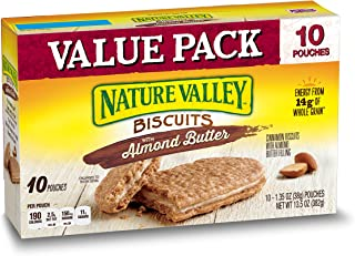 Nature Valley Biscuits, Almond Butter, Breakfast Biscuits with Nut Filling, Value Pack, 10 Pouches, 1.35 oz (Pack of 6)