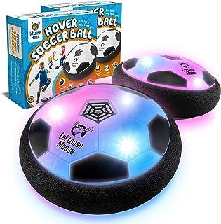 اجازه دهید توپ فوتبال شناور Loose Moose - مجموعه ای از 2 - توپ شناور داخلی با چراغ های LED و ضربه گیرهای فوم نرم برای محافظت از مبلمان - بهترین اسباب بازی های کودکان و نوجوانان برای دختران و پسران 2-16 ساله.