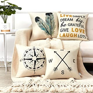 Anickal Decorative Throw Pillow Covers 18x18 Inches Set of 4 Cotton Linen Compass Arrow Feather Live Love Laugh Quote Couch Pillow Covers for Modern Simple Farmhouse Style Decor