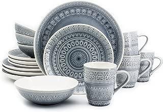 Euro Ceramica Fez Collection 16 Piece Ceramic Reactive Crackleglaze Dinnerware Set, Service for 4, Teardrop Mandala Design, Gray