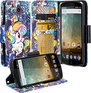 Galaxy Wireless Compatibe for ZTE Ultra (N817) Case, ZTE Ultra Wallet Case, Luxury Leather Case Flip Cover with Card Slots Stand and Detachable Strap for ZTE Ultra, (Rainbow Unicorn)