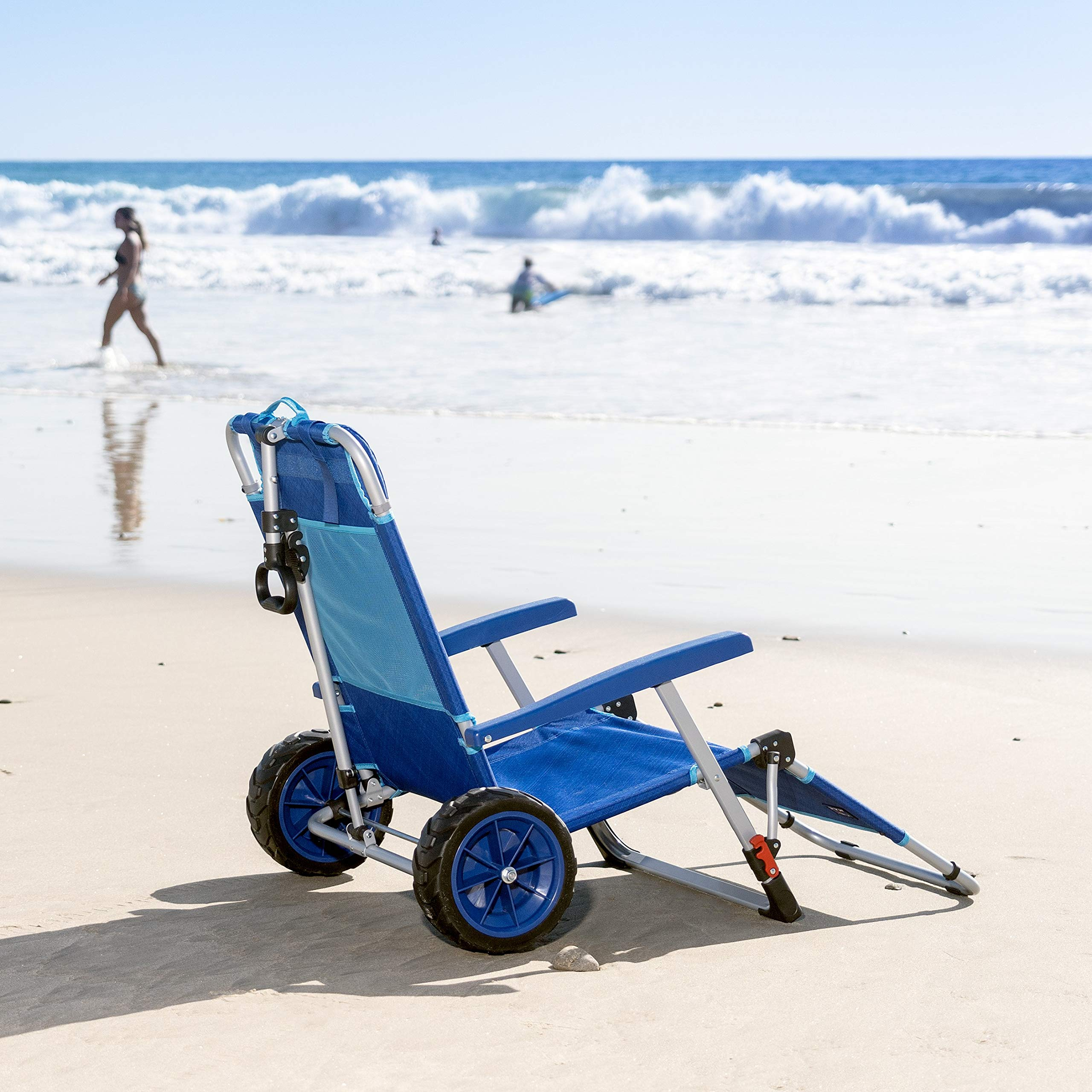 Amazon Com Mac Sports 2 In 1 Beach Day Folding Lounge Chair Cargo Cart For Outdoors Sunbathing Sun Chair Tanning Chair Portable Lightweight Lounger For Patio Collapsible With All Terrain Wheels Blue Sports Outdoors