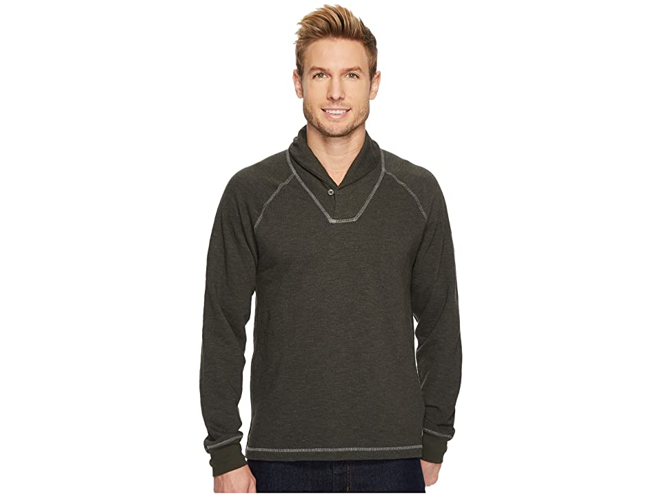 Agave Denim Swell Long Sleeve Shawl Mock Twist Terry (Forest Nights) Men's Long Sleeve Pullover
