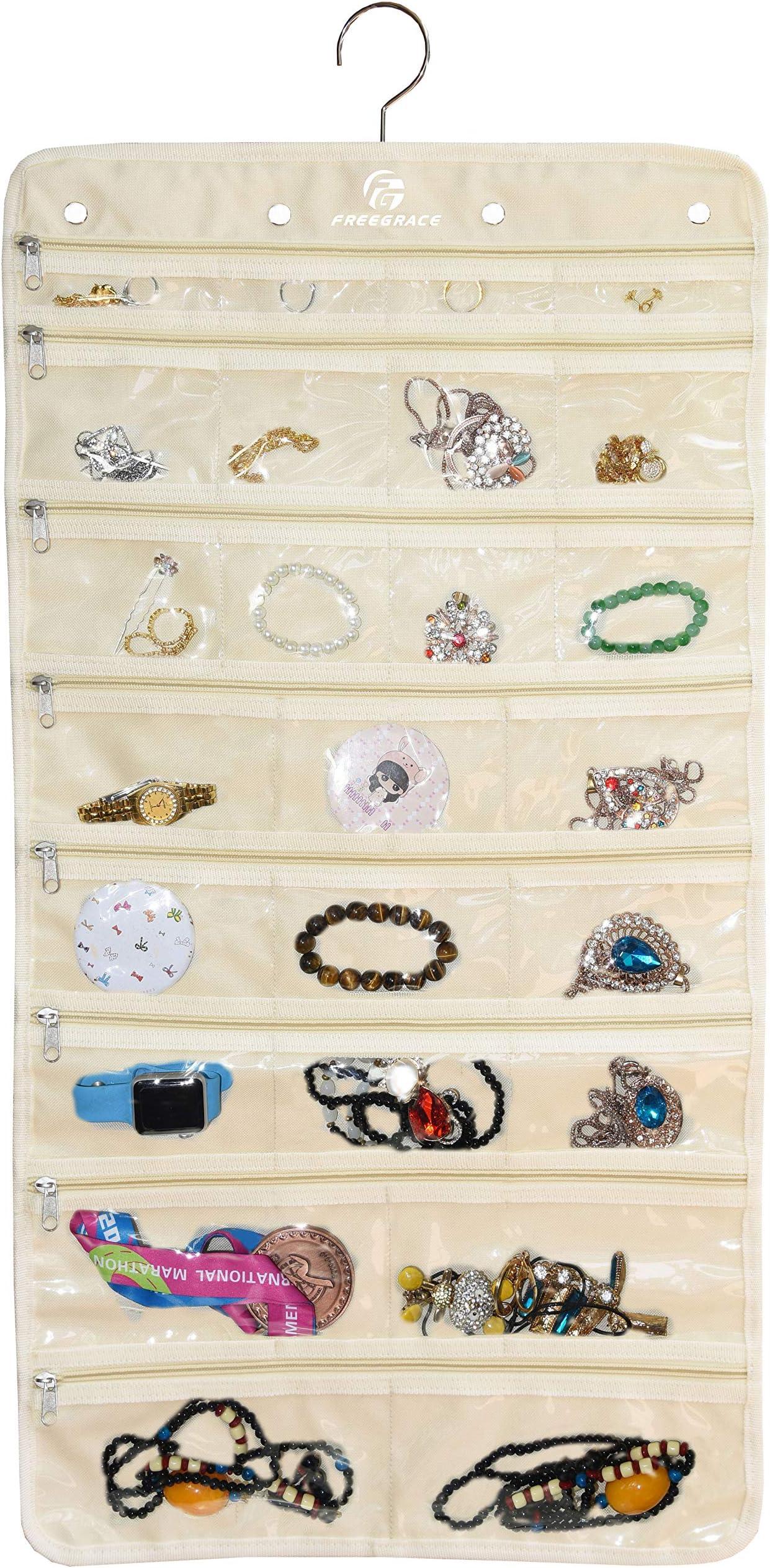 Freegrace Premium Hanging Jewelry Organizer Revolving Hanger - Secure Zipper Closure - 25 Pockets & 23 Hooks - Foldable Storage & Display Solution Jewelry & Bijoux - Beige