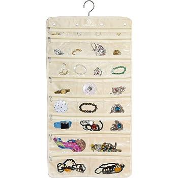 Freegrace Premium Hanging Jewelry Organizer Revolving Hanger - Secure Zipper Closure - 50 Pockets/Two-Side Pockets - Foldable Storage & Display Solution Jewelry & Bijoux - Beige