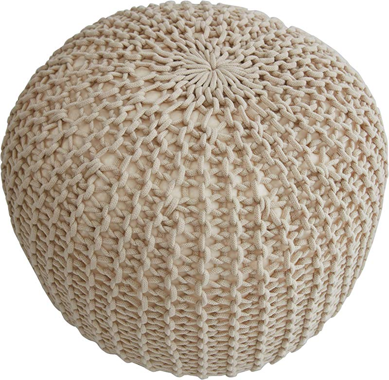 Cheer Collection 18 Round Pouf Ottoman Chunky Hand Knit Decorative And Comfortable Foot Rest Taupe