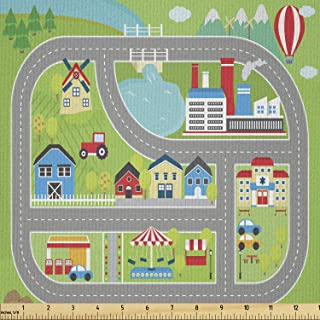 Ambesonne Car Race Track Fabric by The Yard, Roadway Activity Sunny City Landscape Illustration with Farm Factory, Microfi...