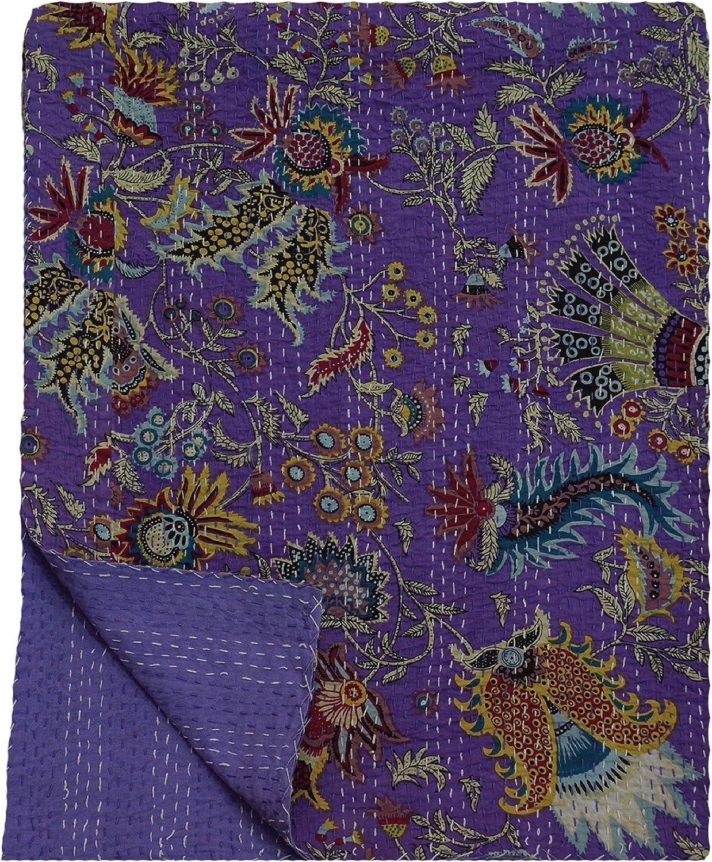 My Craft Palace Queen Size Bedspread Unique Kantha Stitched Blanket Unique Crown Print Purple Quilt