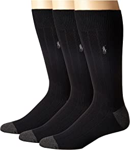 3-Pack Rib Crew with Contrast Heel/Toe and Polo Player Embroidery
