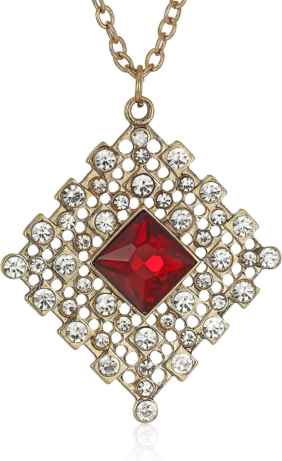 1928 Jewelry Gold-Tone Red Ranking TOP16 and Accent Crystal N Pendant Popular products Filigree