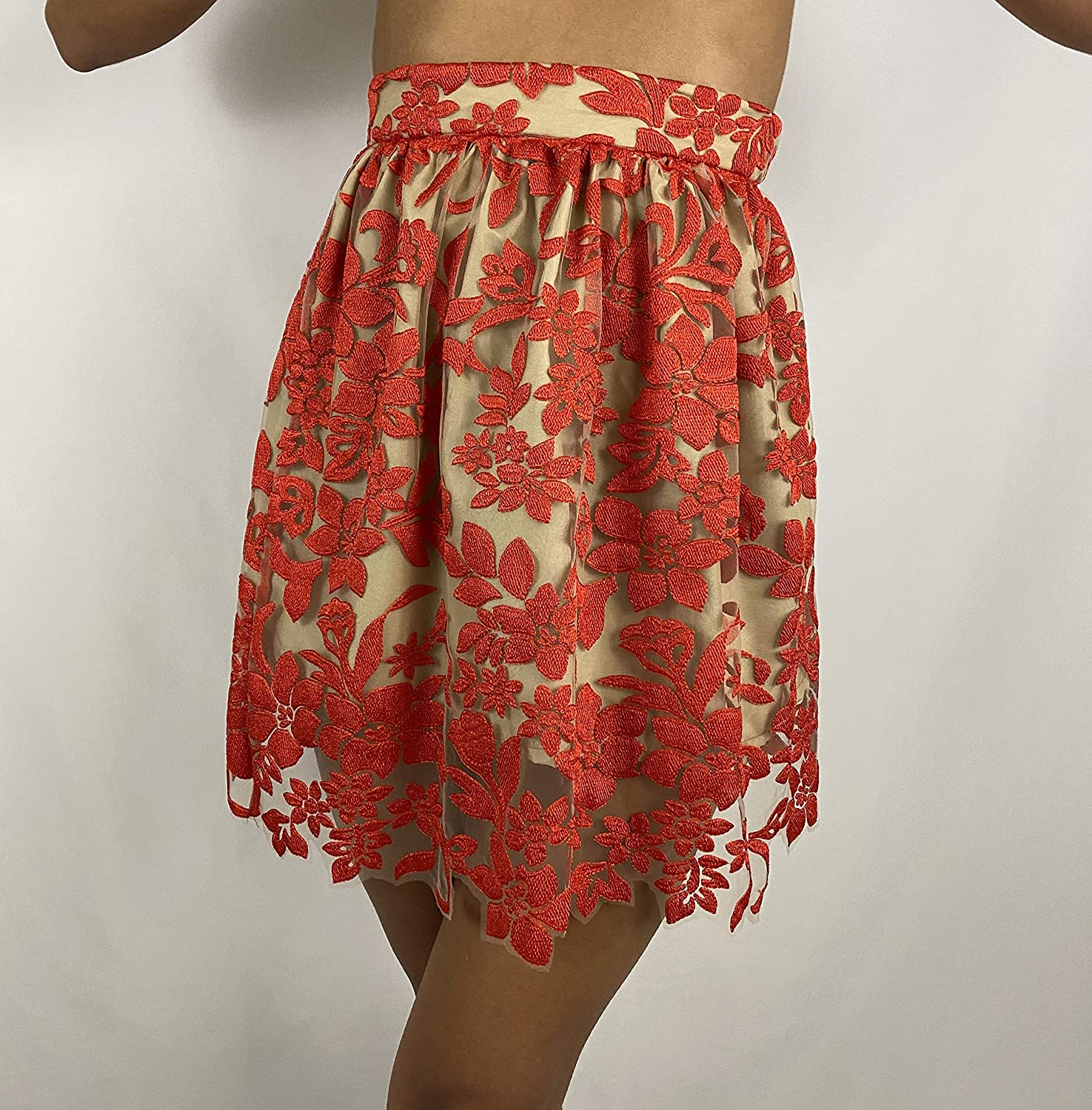 Large-scale sale Women's designer Floral Mail order cheap Red Skirt Lace