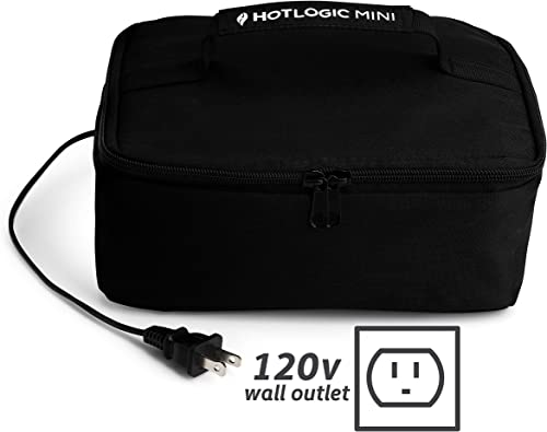 HOTLOGIC Food Warming Tote, Lunch Bag 120V, Black - Food Warmer and Heater – Lunch Box for Office, Travel, Potlucks, ...