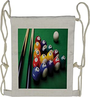 Lunarable Manly Drawstring Backpack, Billiard Pool Balls Snooker, Sackpack Bag, Fern Green