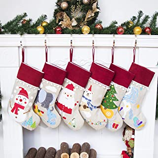 Beyond Your Thoughts NEW Burlap Christmas Stocking Set of 6 (Extra Large) Embroidered Linen Christmas Ornament Family Decorations (17.5 inch)
