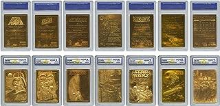 STAR WARS 1996 Original Genuine 23KT Gold Cards – Graded Gem-Mint 10 – SET OF 7