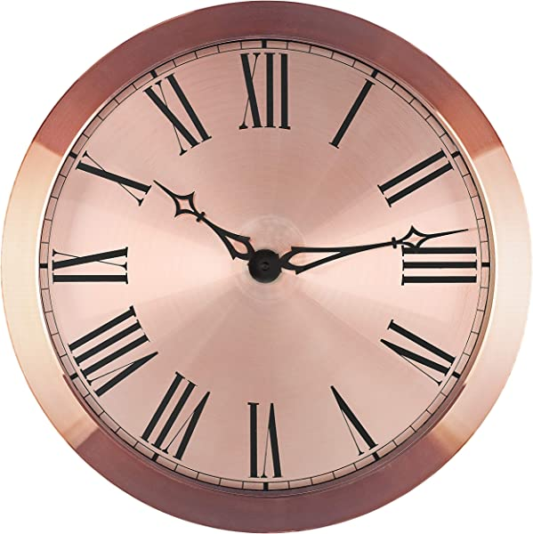 Bernhard Products Large Steel Wall Clock 14 Inch Decorative Roman Numerals Rose Gold Metal Silent Non Ticking Battery Operated Clocks