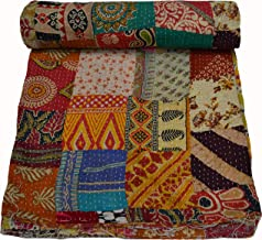 Maviss Homes Indian Traditional Patchwork Cotton Double Kantha Quilt Blanket Bedspreads Throw Machine Washable and Dryable...