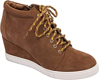 Pic & Pay - Zoe - Platform Wedge Bootie Suede Laced Fashion Sneaker Comfortable Insole Padded Arch Support