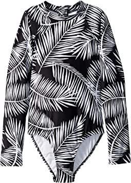 Tahitian Skies Long Sleeve Surf Palm Tank One-Piece (Little Kids/Big Kids)
