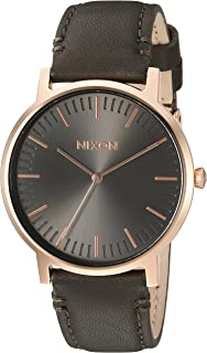Nixon Porter Leather A10582494-00. Gunmetal Grey and Tan Leather Men's Watch (20-18mm Brown Leather Band and Gunmetal 40mm...