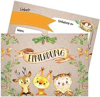 Papierdrachen 12 zaproszeń na urodziny dziecka dla dziewczynek i chłopców - motyw zwierząt leśnych - zaproszenia na urodzi...
