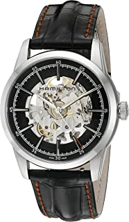 Men's 'Timeless Classic' Swiss Automatic Stainless Steel and Leather Dress Watch, Color:Black (Model: H40655731)
