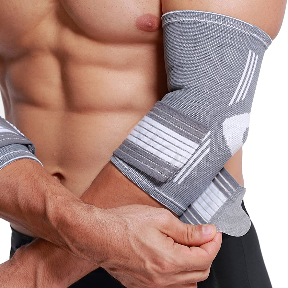 Neotech Care Elbow Brace Support Sleeve (1 Unit) - Elastic & Breathable Fabric - Adjustable Compression Strap/Band - for Men, Women, Right or Left Arm - Gray Color (Size L)