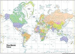 Mundo mapa político–Vinilo–A1tamaño 59,4x 84,1cm