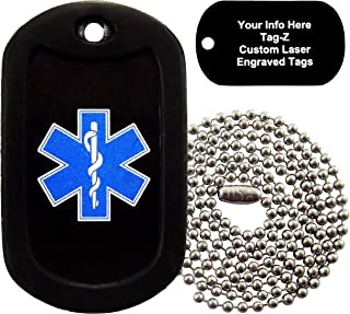 Tag-Z Military Dog Tags - Custom Engraved EMT Star of Life Military Dog Tag Necklace