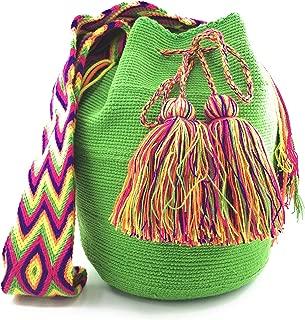 Colombian Handbags, Mochila Wayuu, 100% Original Colombian Cotton Handmade Bucket Bag. (SINGLE COLOR)