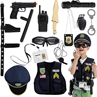 JOYIN 14 Pcs Police Pretend Play Toys Hat and Uniform Outfit for Halloween Dress Up Party, Police Officer Costume, Role-Pl...