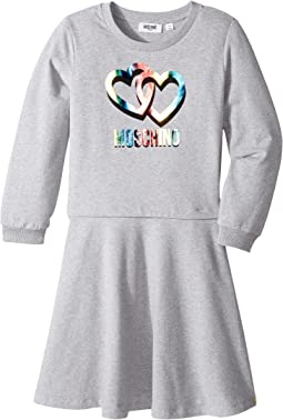 Moschino Kids - Long Sleeve Multicolored Heart Logo Dress (Big Kids)