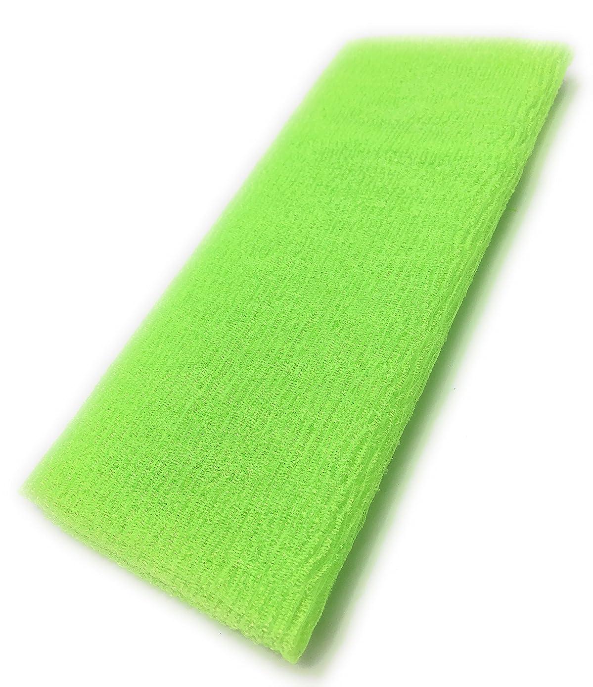 技術的な補助金数字Maltose あかすりタオル ボディタオル ロングボディブラシ やわらか 濃密泡 背中 お風呂用 メンズ 4色 (グリーン)